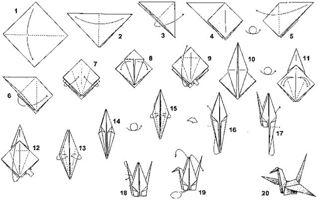 Оригами журавлик  Схема из бумаги в видео  Скачать