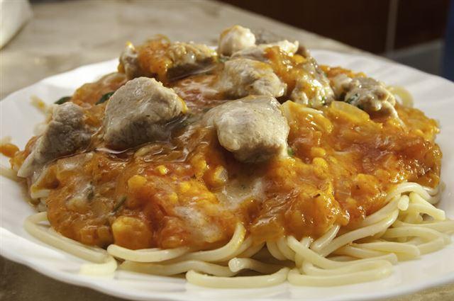 in Italian spaghetti