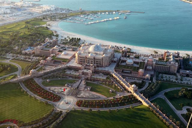 Aerial view of the Emirates Palace in Abu Dhabi, United Arab Emirates