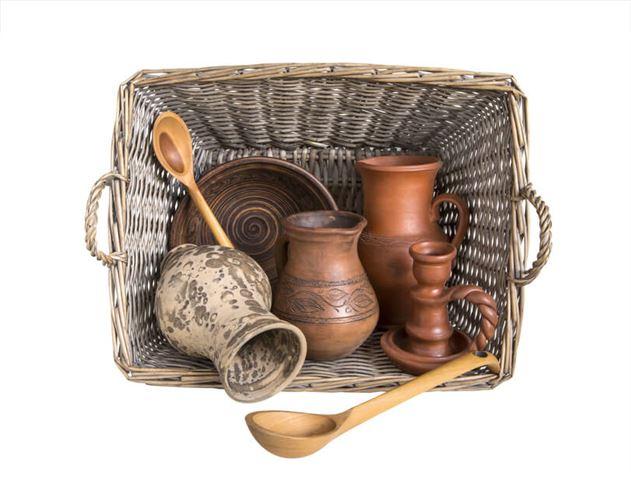 utensils. clay.