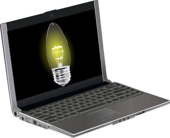 modern laptop with bright lamp on screen