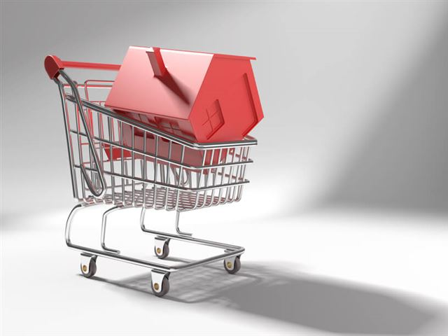 shopping cart with red icon house
