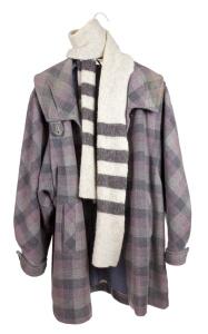 Women's checkered tweed coat