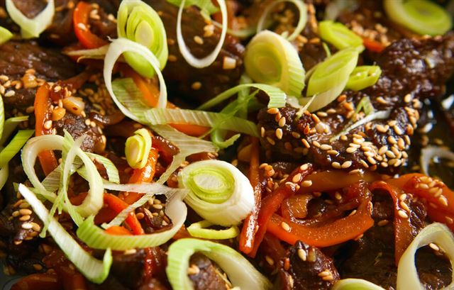 Beef With Paprika, Leek And Sesame