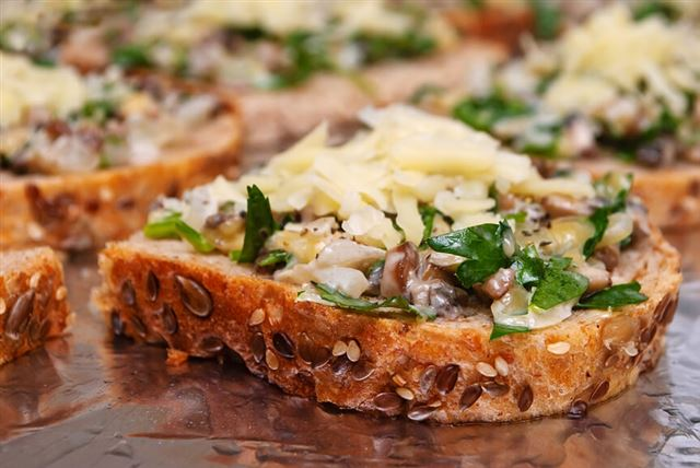 Sandwiches with mushrooms and cheese on whole wheat bread