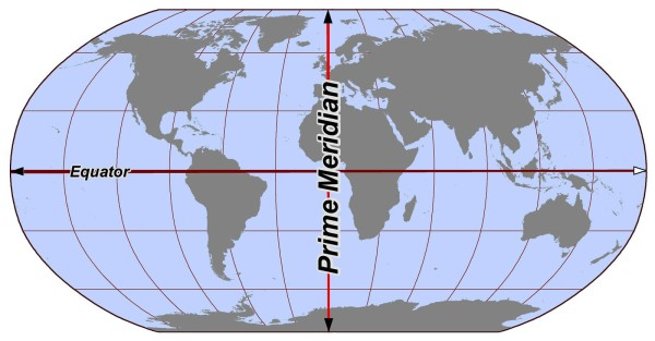 Меридиан гринвича на карте