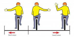 Велосипедист  правую руку