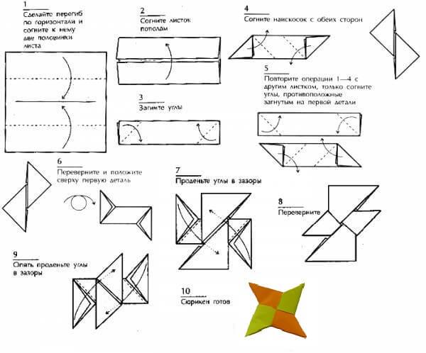 Как сделать сюрикен из бумаги? Поделки из бумаги! 88